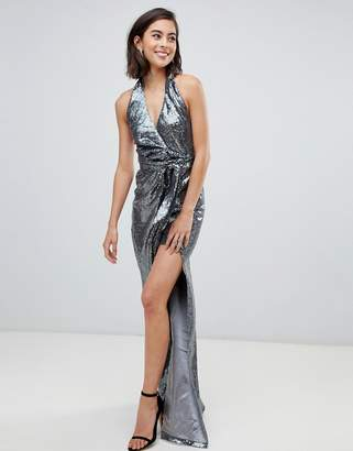 City Goddess Halter Neck Sequin Maxi Dress With Split Detail