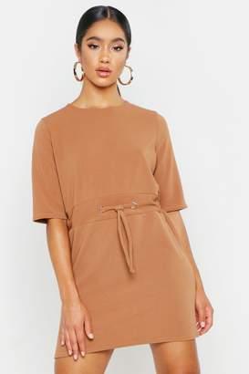 boohoo Gathered Eyelet Waist Mini Dress