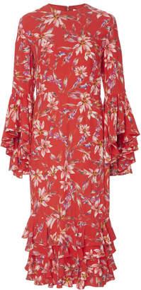 AMUR Alexia Printed Crepe Midi Dress