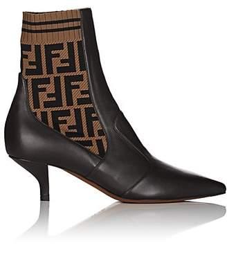 Fendi Women's Rockoko Leather Ankle Boots - Brown