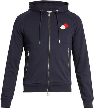 MONCLER Zip-up cotton-jersey hooded sweatshirt $470 thestylecure.com