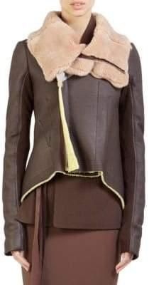 Rick Owens Fur Collar Shearling Jacket