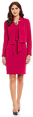 Albert Nipon Belted Woven 2-Piece Dress Suit $275 thestylecure.com