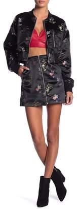 Honey Punch Embroidered Satin Mini Skirt