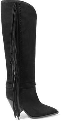 Isabel Marant Lenston Fringed Suede Knee Boots - Black