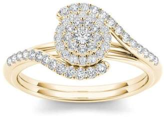 Imperial Diamond Imperial 3/8 Carat T.W. Diamond Bypass Halo Cluster 10kt Yellow Gold Engagement Ring