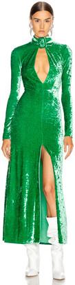 ATTICO Velvet Maxi Dress in Emerald | FWRD