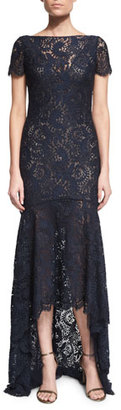 Theia Short-Sleeve Lace High-Low Gown $795 thestylecure.com