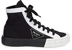 Prada Women's Colorblock High-Top Cotton Sneakers