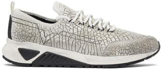 Diesel White and Black Cracked Runner Sneakers