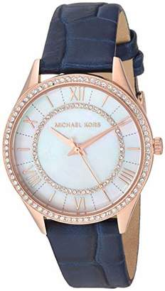 Michael Kors Women's Lauryn Stainless Steel Analog-Quartz Watch with Leather Strap