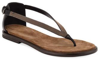 Brunello Cucinelli Flat Monili/Leather Thong Sandals