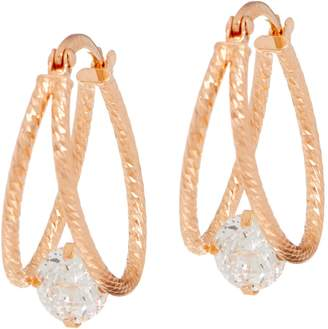 Diamonique 100-Facet Split Hoop Earrings, Sterling