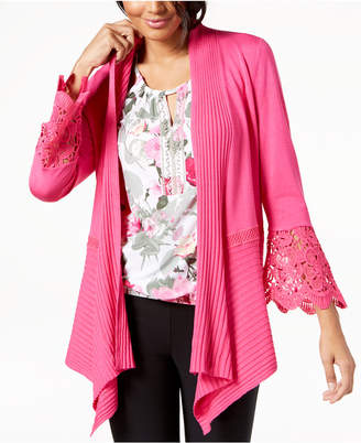 INC International Concepts I.n.c. Petite Lace-Detail Cozy Open-Front Cardigan, Created for Macy's