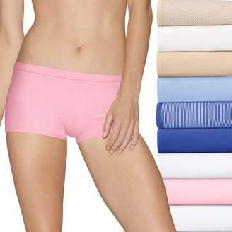 Hanes Women's Ultimate Comfort Stretch 9-Pack Boyshort Panties 49KSP9