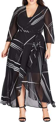 City Chic Power Lines Chiffon Wrap Maxi Dress