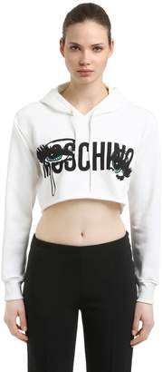 Moschino Eyes Hooded Cotton Crop Sweatshirt