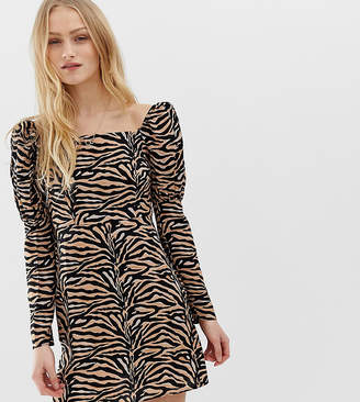 Reclaimed Vintage inspired Mini Dress with Shoulder Puff in tiger Print