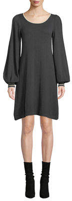 Max Studio Tipped Long-Sleeve Sweaterdress