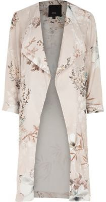 River Island Womens Grey floral print side split duster coat