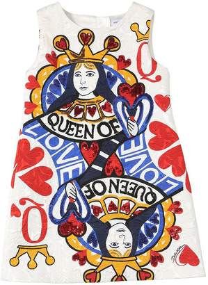 Dolce & Gabbana Queen Of Hearts Printed Brocade Dress