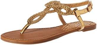 Qupid Women's Thong Sandal with Braid Detail Flat