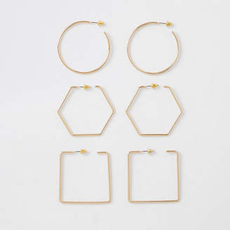 River Island Gold tone mixed shapes hoop earrings pack
