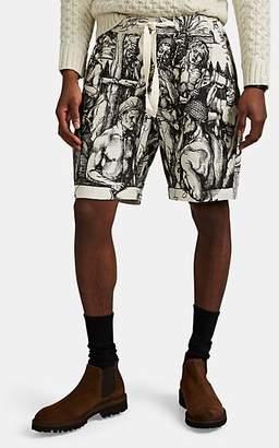 J.W.Anderson Men's Durer Scene Linen Hopsack Drawstring Shorts - Brown