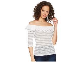 Rebecca Taylor Off Shoulder Skinny Rib Pullover Women's Short Sleeve Pullover