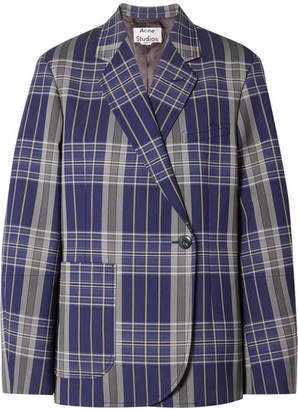 Acne Studios Kheira Oversized Checked Twill Blazer - Navy
