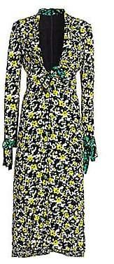 Proenza Schouler Women's Printed Deep-V Midi Dress - Size 0