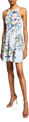 Speechless Floral Skater Tie-Back Dress