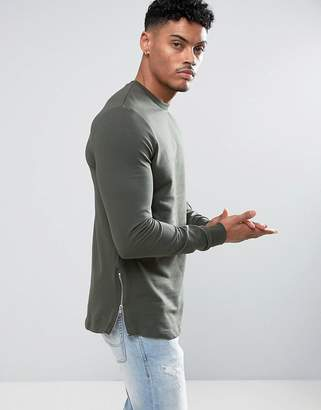 Asos DESIGN Longline Muscle Fit Sweatshirt With Side Zip in Khaki