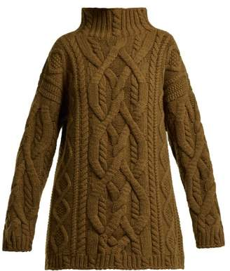 Connolly - Cable Knit Wool And Cashmere Blend Sweater - Womens - Dark Brown