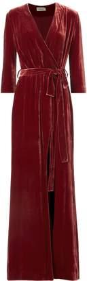 L'Agence Rosalind Velvet Wrap Maxi Dress