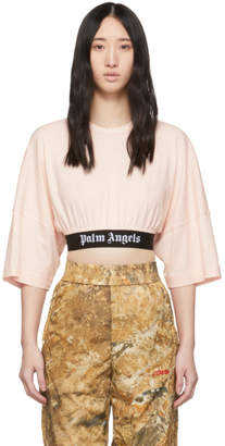 Palm Angels Pink Cropped Logo T-Shirt