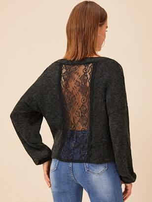 Shein Contrast Lace Back V-neck Jumper