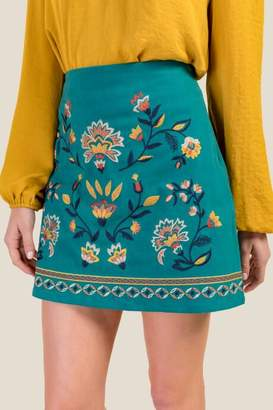 francesca's Julia Embroidered Skirt - Forest