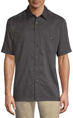Haggar Short Sleeve Plaid Button-Front Shirt