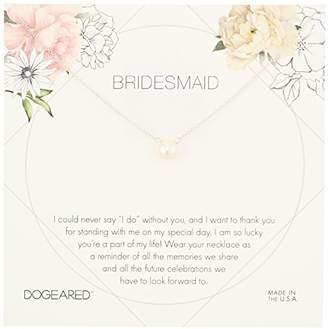 Dogeared Bridesmaid Flower Card Small Button White Pearl Necklace