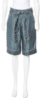 Dolce & Gabbana Printed High-Rise Silk Shorts w/ Tags
