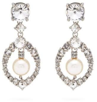 Com Miu Crystal And Pearl Drop Earrings Womens