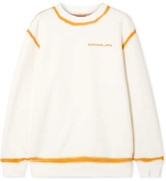 Eckhaus Latta Two-tone Cotton-jersey Sweatshirt - Cream