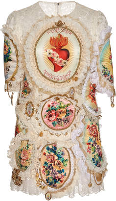Dolce & Gabbana Embroidered Eyelet Lace Mini Dress