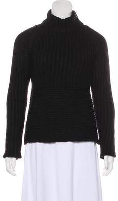 Prada Sport Wool Leather-Trimmed Sweater