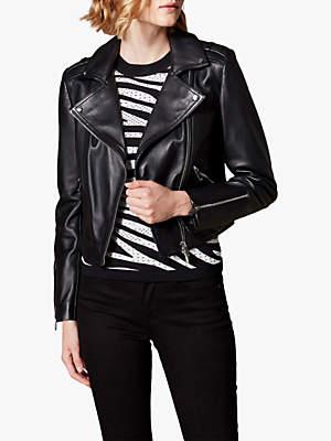 Karen Millen Cropped Leather Biker Jacket, Black