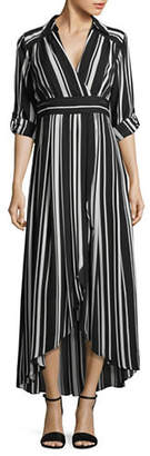 INC International Concepts Striped Faux Wrap Maxi Dress
