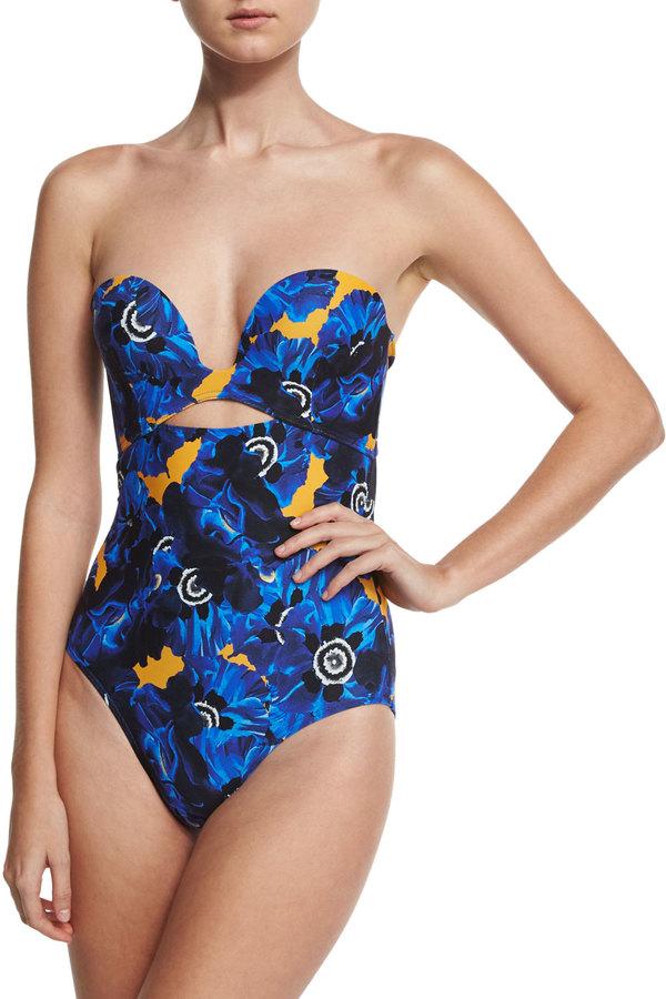 Proenza Schouler Poppy Bustier Bandeau One-Piece Swimsuit, Lapis 3