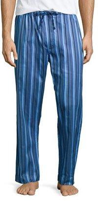 Derek Rose Satin-Striped Pajama Pants, Blue $105 thestylecure.com