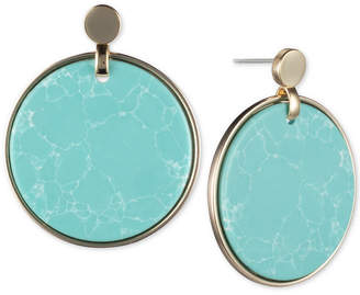 DKNY Gold-Tone Stone Disc Drop Earrings